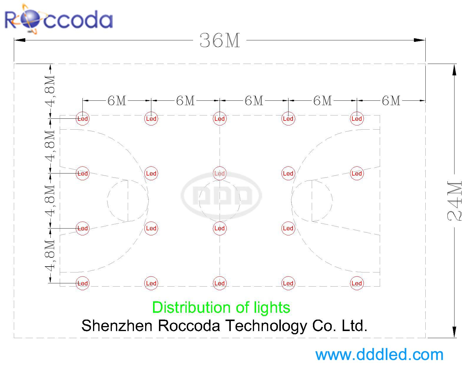 Layout Solution Of Led Lighting For Indoor Basketball